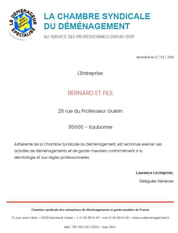 Certifications d m nagements bernard val d 39 oise 95 - Chambre syndical du demenagement ...