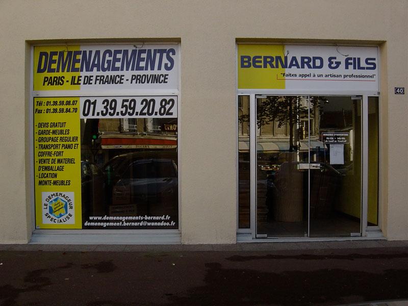 Devanture de l'entreprise Déménagements Bernard et Fils - Paris, Ile de France et Province